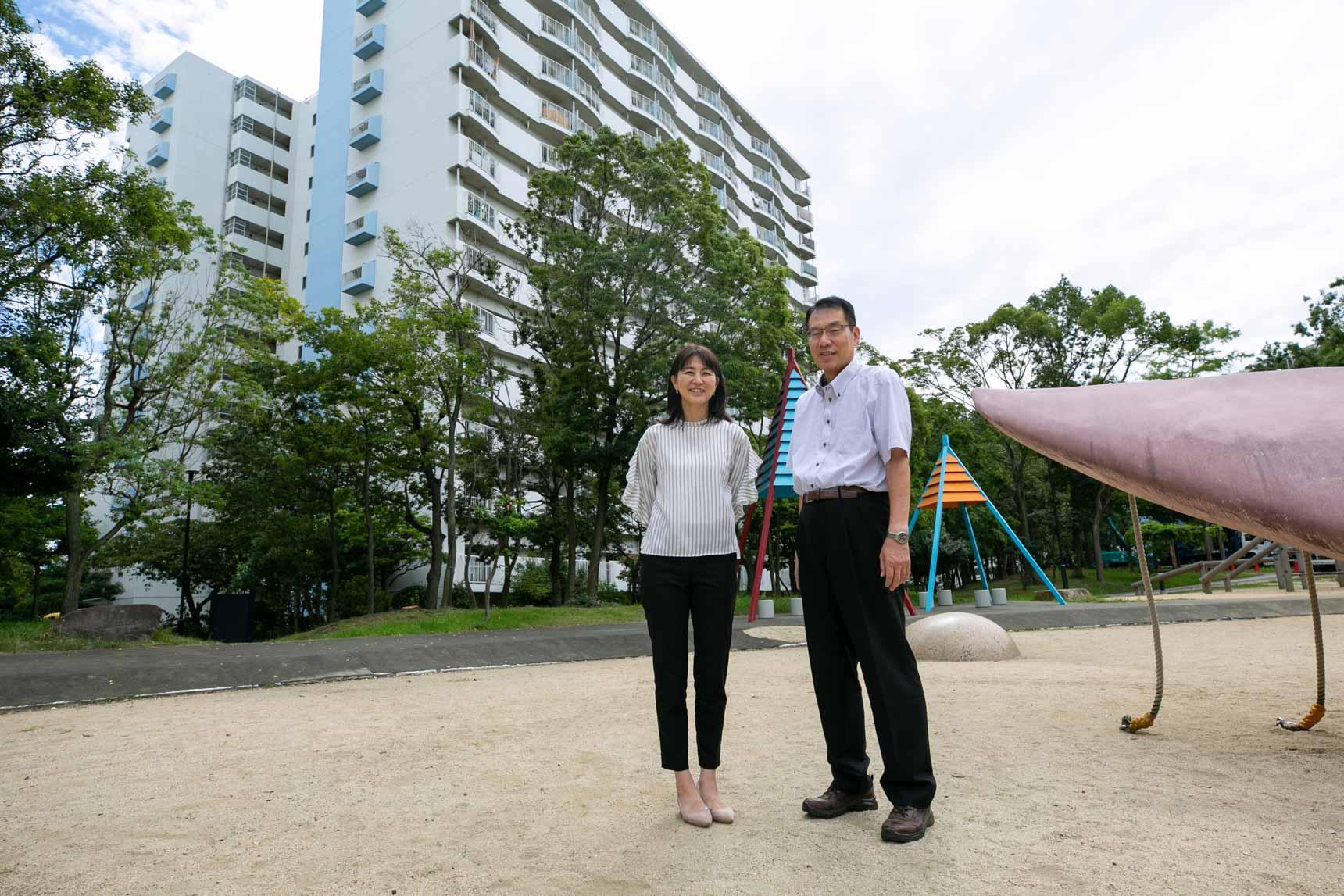 ご案内していただいたのは、写真左から、UR都市機構の杉田さんと和藤さんです。