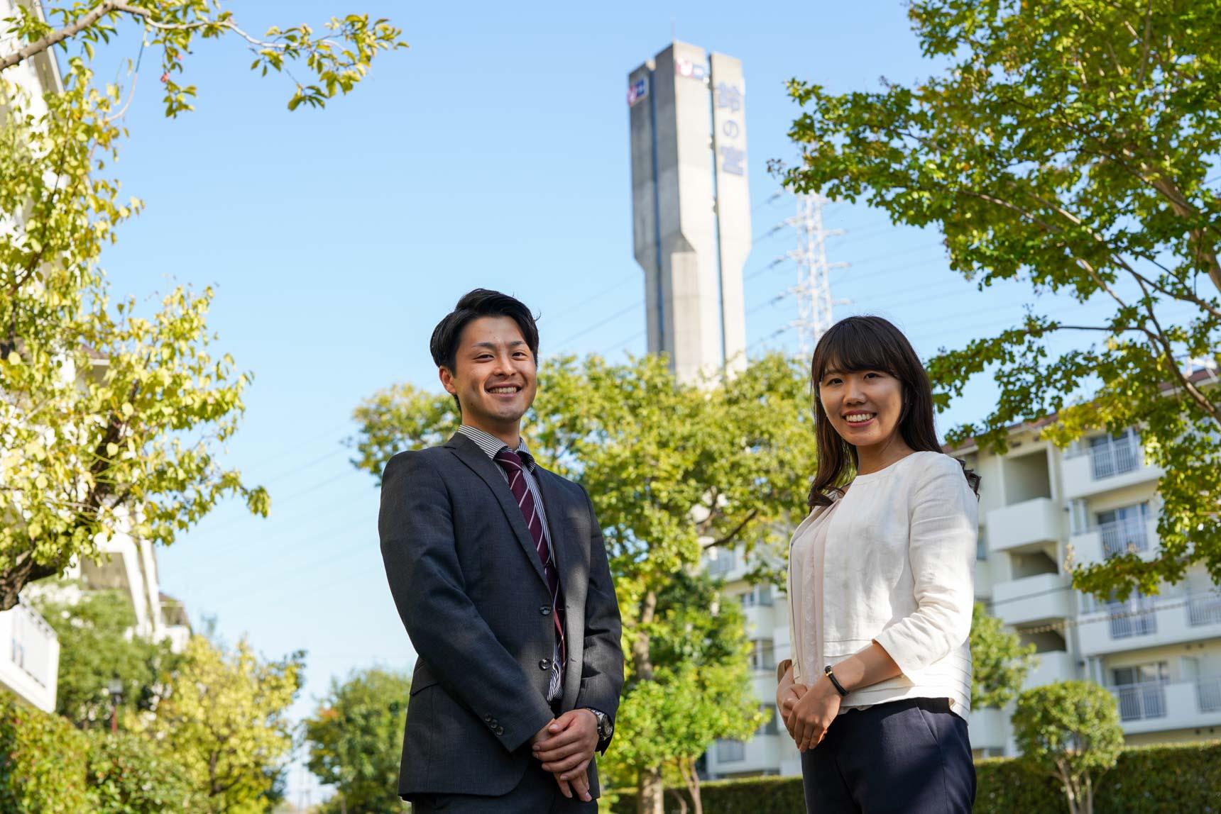 ご案内していただいたのは、写真左からUR都市機構の原田さんと大津さん。