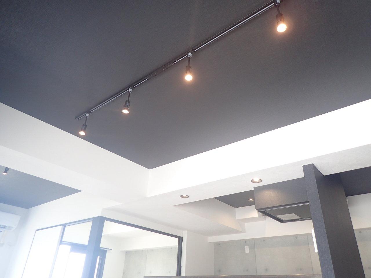 天井はシックな黒に塗られています。このライティングレールが映えていいんです。かっこよさとおしゃれさを兼ね備えたお部屋です。