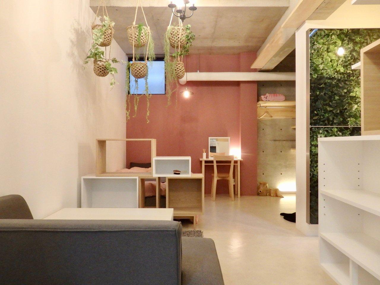 コンクリートの壁が一見ナチュラルさとは相反しそうですが、淡いピンクのクロスと、ところどころにある木の存在が無機質なイメージを打ち消してくれそうです。建物がグッドデザイン賞を受賞したという、デザイン性の高いお部屋なんです。