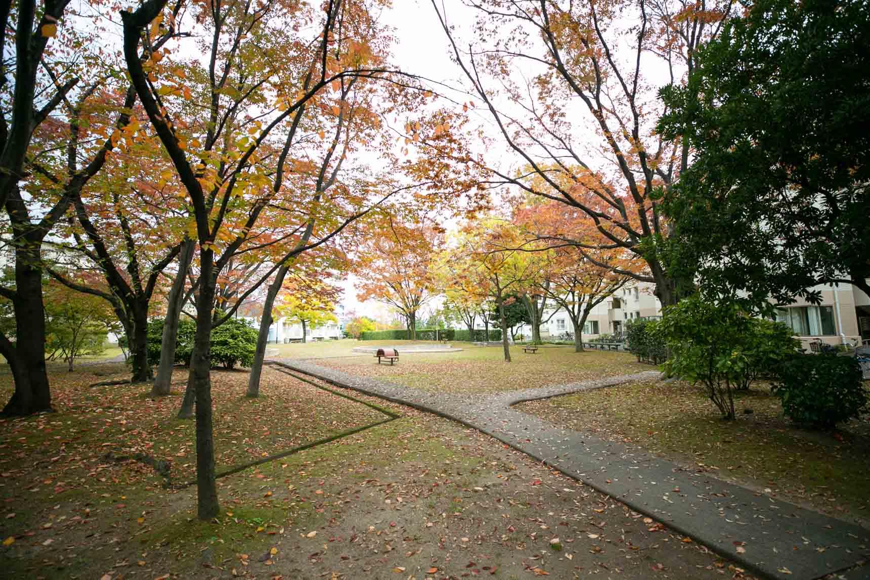 敷地内のいたるところに大小さまざまな公園も設けられています。
