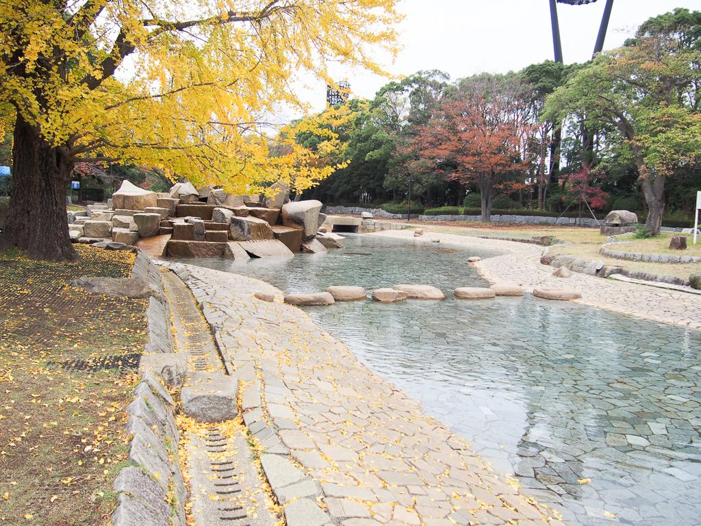 夏には多くの子どもたちが水遊びを愉しむ、じゃぶじゃぶ池も。