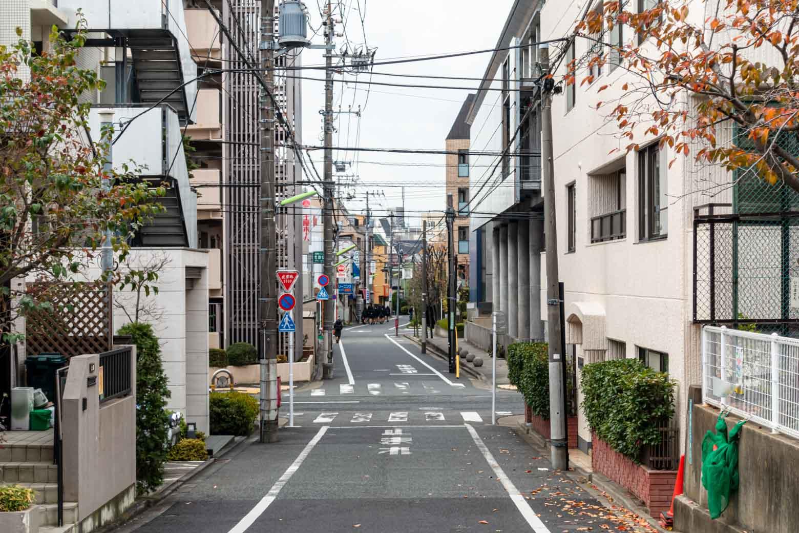 商店街と住宅街の中間という感じの町を歩いていくと……