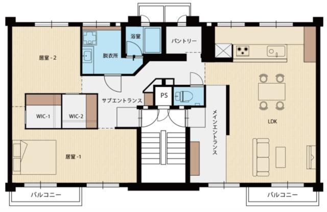 室内だけ見ていると普通のお部屋のようですが、間取りを見ると、こんなおもしろいつくりに!階段室をはさんで隣り合っていた2部屋の壁を抜き、45㎡×2=90㎡の広々とした空間にしているんです。