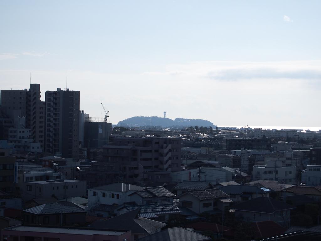 晴れた日には遠くに江ノ島が。