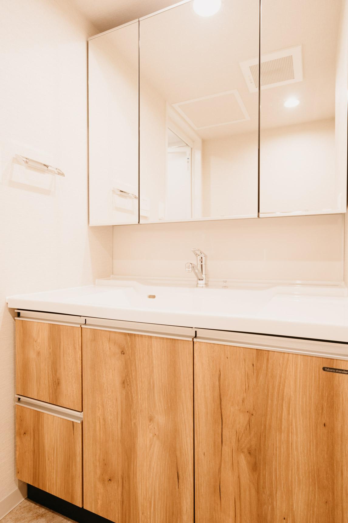 洗面台も、おしゃれなだけでなく、大きくて使いやすそうなものになっていました。これは嬉しい。