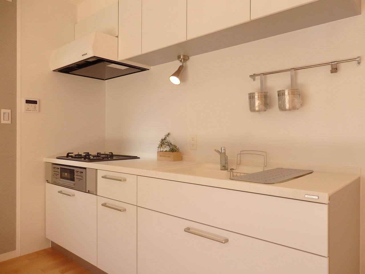 真っ白で使いやすいと評判のデザインキッチンも、かなり大きなものがついてますよ。