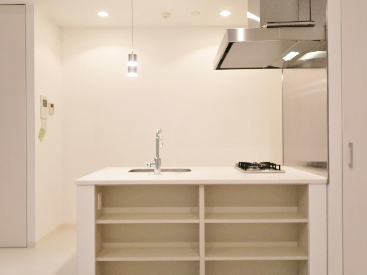 ワンルームですが居室スペースが10畳を超える、こちらのお部屋。ポイントはなんといってもこのアイランド型のキッチン。手前の棚には食器をおしゃれに飾りたいですね。
