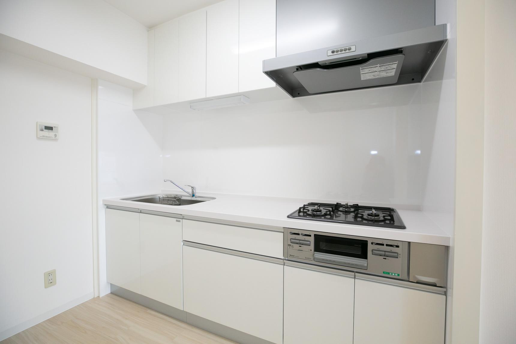 色の統一感だけでなく、設備もちょっと良いものが入っています。キッチンは、ガス3口のシステムキッチン。作業スペースが広くて、とても使いやすそう。
