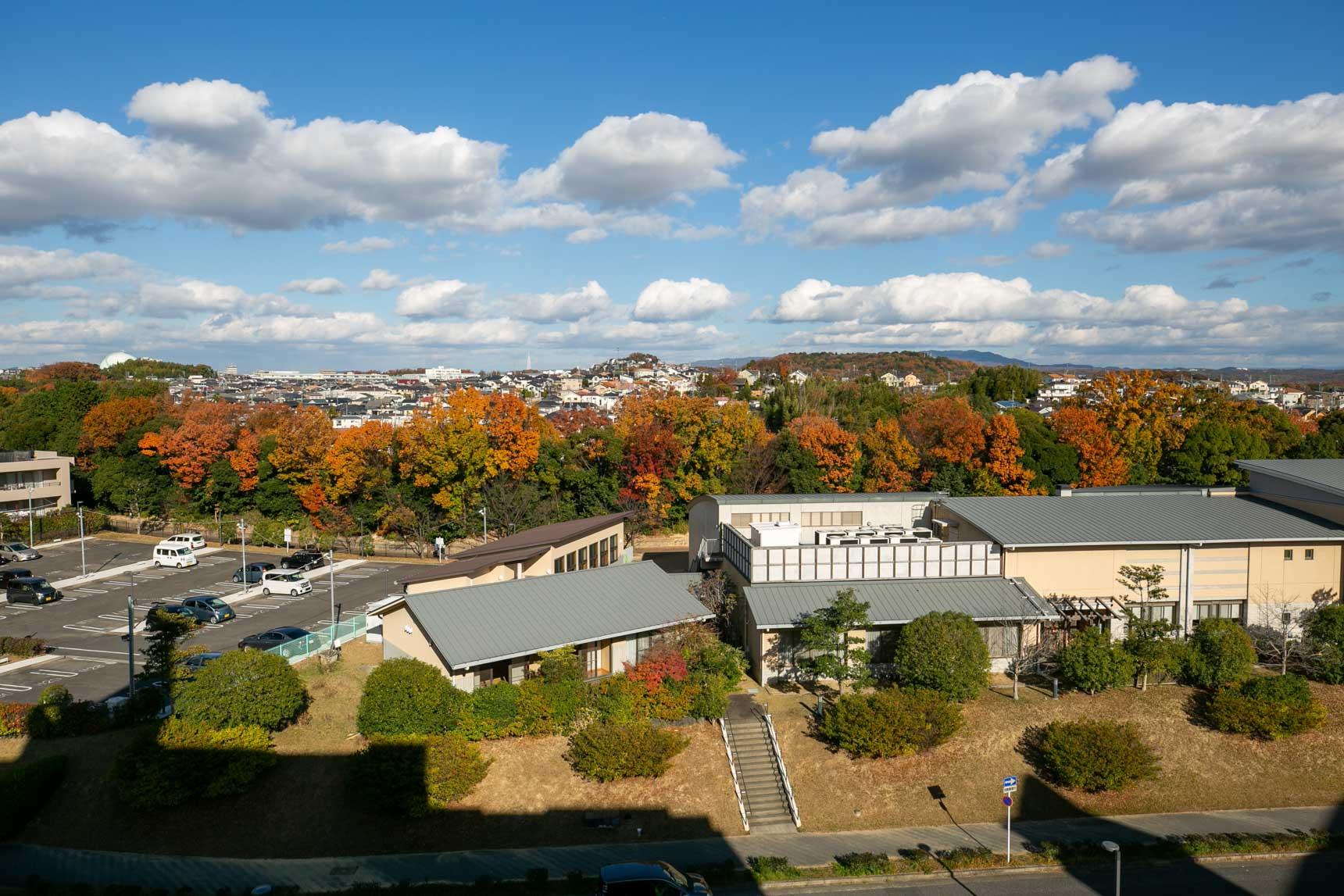 取材に訪れたのはちょうど紅葉の時期。お部屋の前の共用廊下から、見事に紅葉した緑地と、立派な建物が見えました。