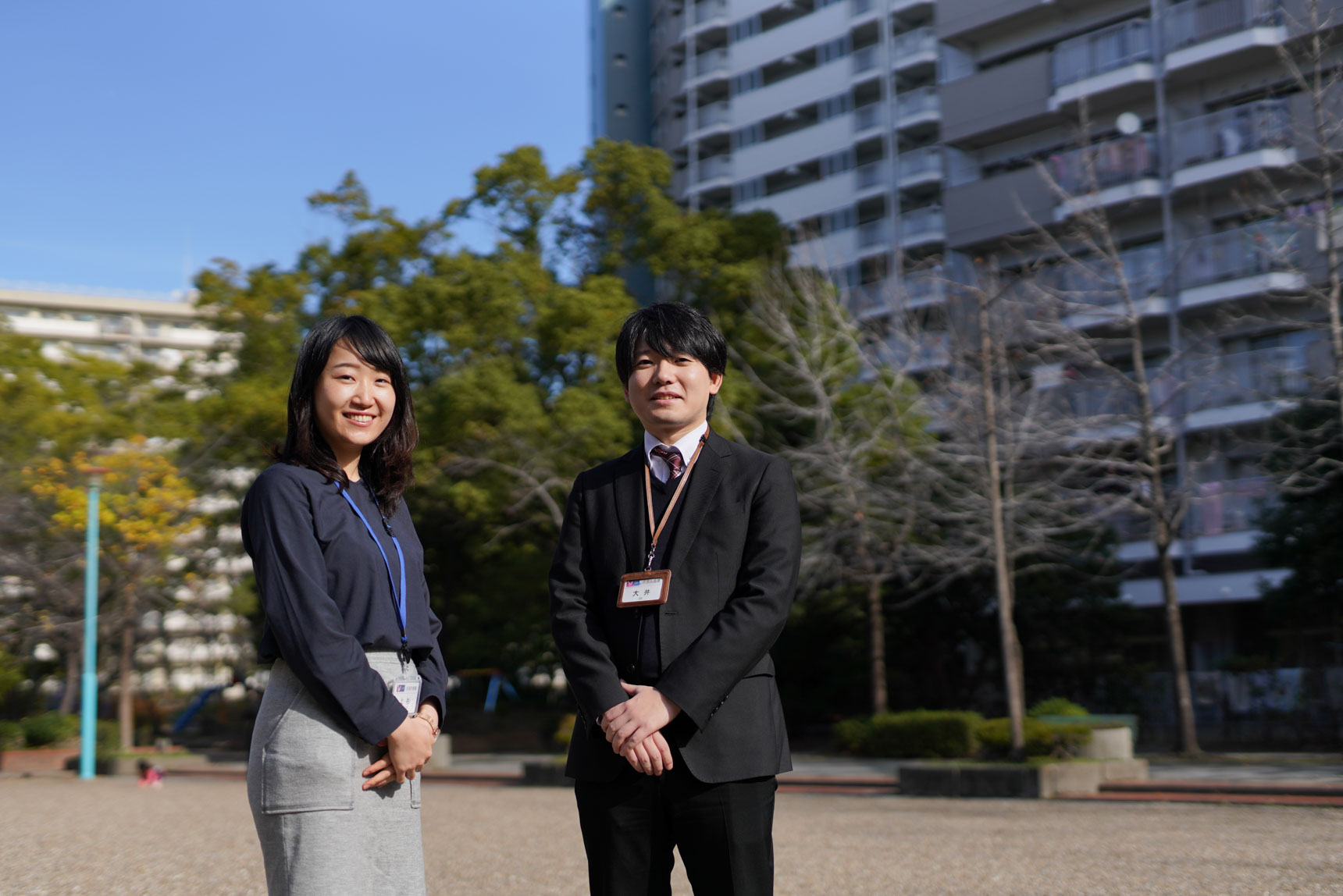 ご案内いただいたのは、写真左から、UR都市機構の上杉さんと大井さんです。