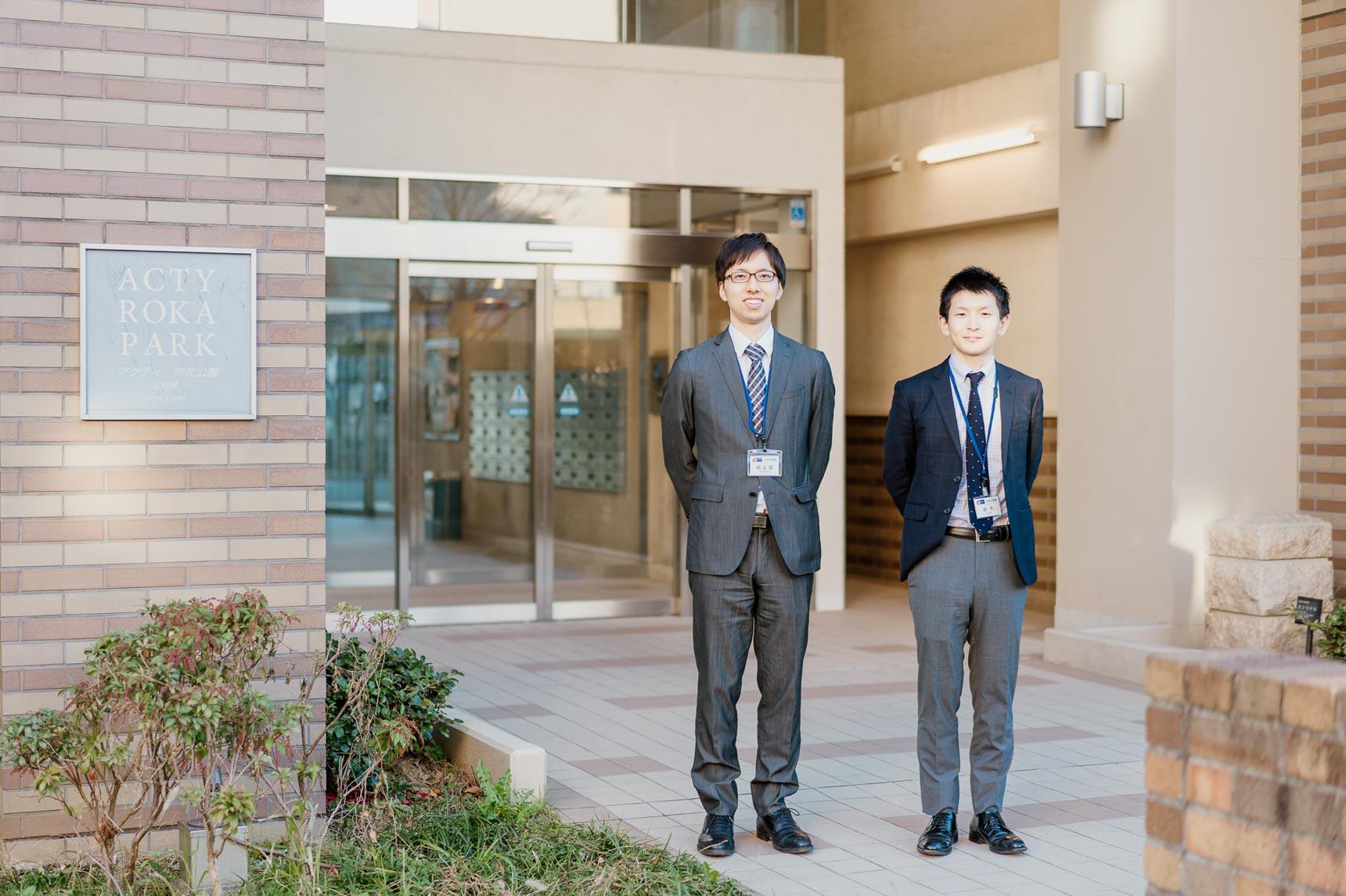 ご案内いただいたのは、写真左からUR都市機構の田之畑さんと鈴木さん。