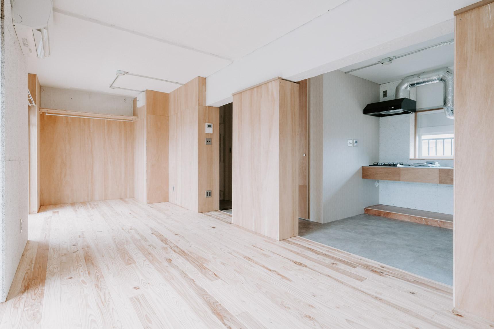 こちらが、入居者さんへの引き渡し状態のお部屋。いろんなカスタマイズがしやすいように工夫されているお部屋です。