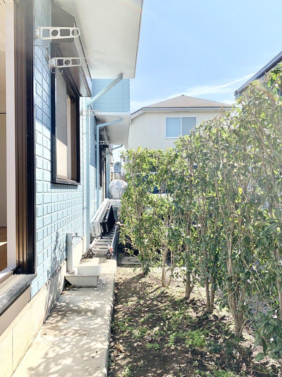 生垣に緑がたっぷりあるのもいいですね。窓を開けているとこの緑がお部屋からも見られるので、清々しく気持ちの良い暮らしができそうです。