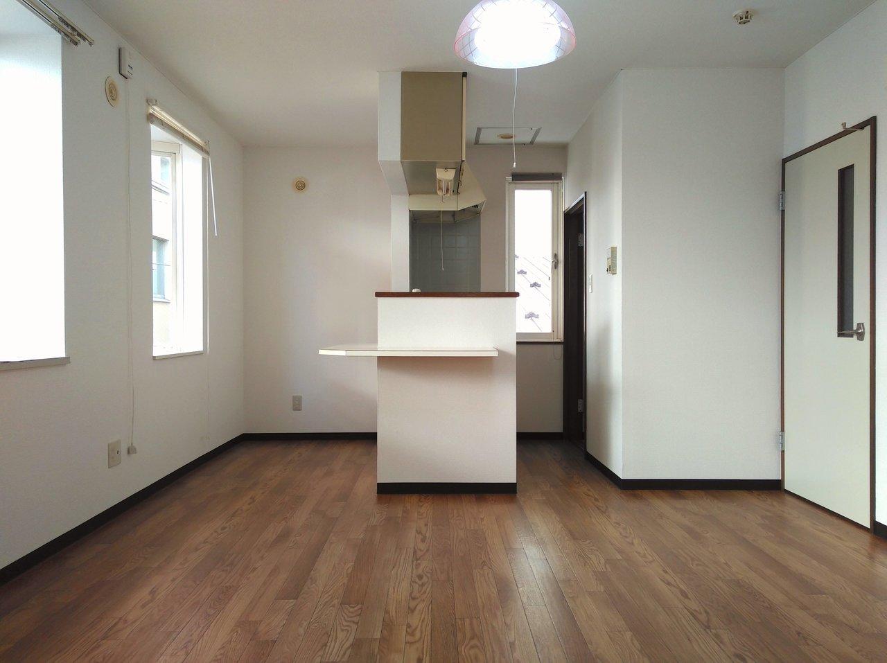 最後はL字型のカウンターがついたキッチンが印象的なこちらのお部屋。一人でゆったり暮らすのもいいし、二人で暮らすことももちろん十分な広さの2LDKのお部屋です。