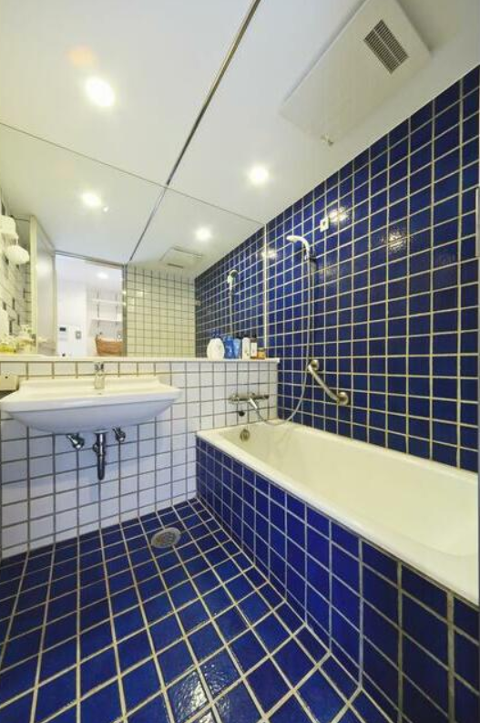 お風呂やシャワーも付いているけど、オフィスなら使用はなるべく禁止、でしょうか。レトロなタイル、味わい深いですね。
