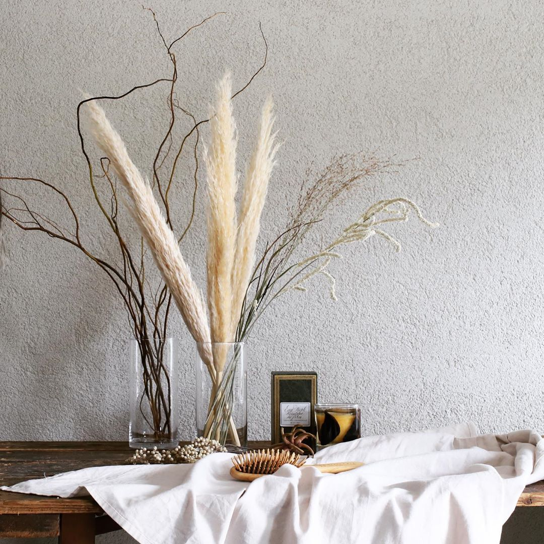 ウエディングのウェルカムスペースのディスプレイとしても人気の、パンパスグラス。大きく長さのあるパンパスグラスは、草丈が大きくなるイネ科の多年草です。大きさはあるものの、生成りのような色合いは落ち着きがあり、インテリアとしても活躍しそう。