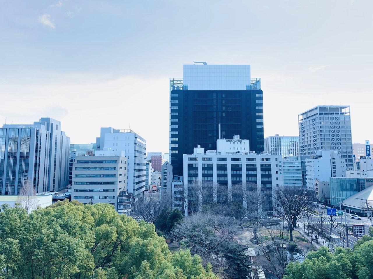 10階にある1SLDKのお部屋からは、手前に公園、奥にはオフィス街が見えます。見事な眺望が広がっていますね。