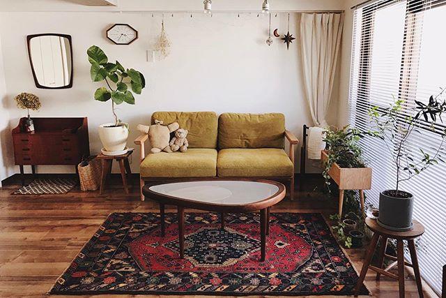 居心地良さそうなソファや家具、たくさんの植物が配された空間。
