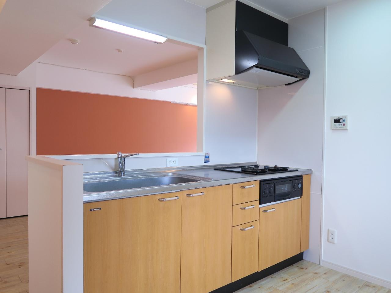キッチンはカウンタータイプになっています。作業スペースも広々としているので、二人で並んで立ってご飯をつくることも楽しめそうですね。