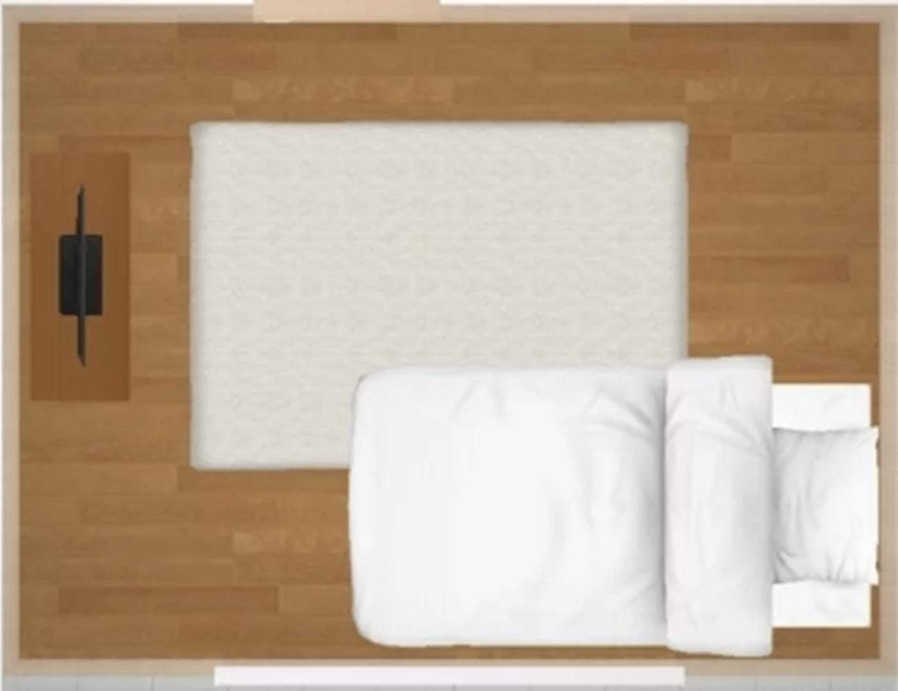6畳1Kに、長い方の壁に寄せてシングルベッドを置くと、サイズ感はこんな感じ。