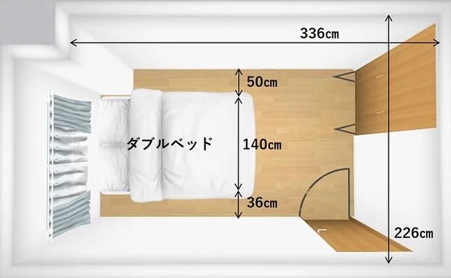 2人で眠るのであればダブルサイズ以上がおすすめです。ダブルサイズなら5畳でも配置しやすく、使い勝手の良いサイズです。