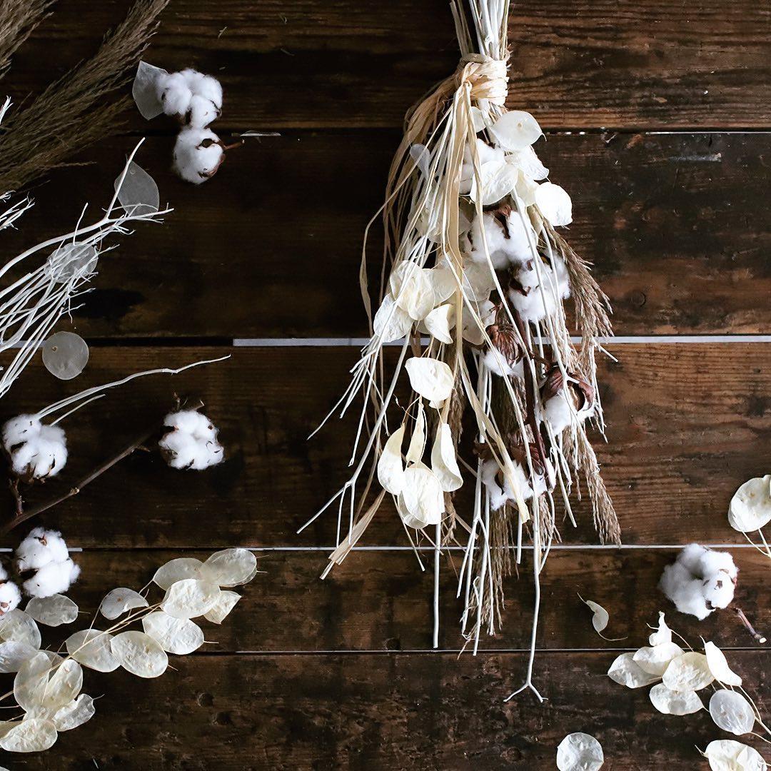 まるでガラス細工のような繊細な葉をした「ルナリア」も、退色はやや遅め。クリスマスなど、冬の季節のアレンジメントとしてよく使われます。