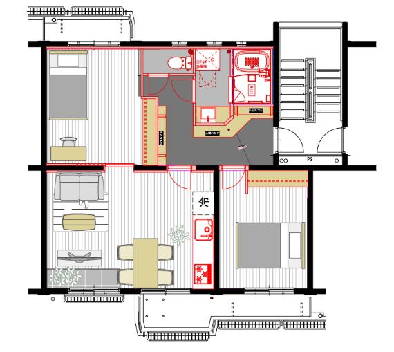 リビングと、2つある居室は、カバザクラの無垢フローリングでしつらえたお部屋です。