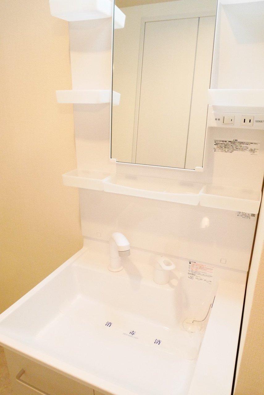 広くて使いやすそうな独立洗面台も。水回りがすべてひとまとまりになっているので、掃除も楽にできそうですよ。