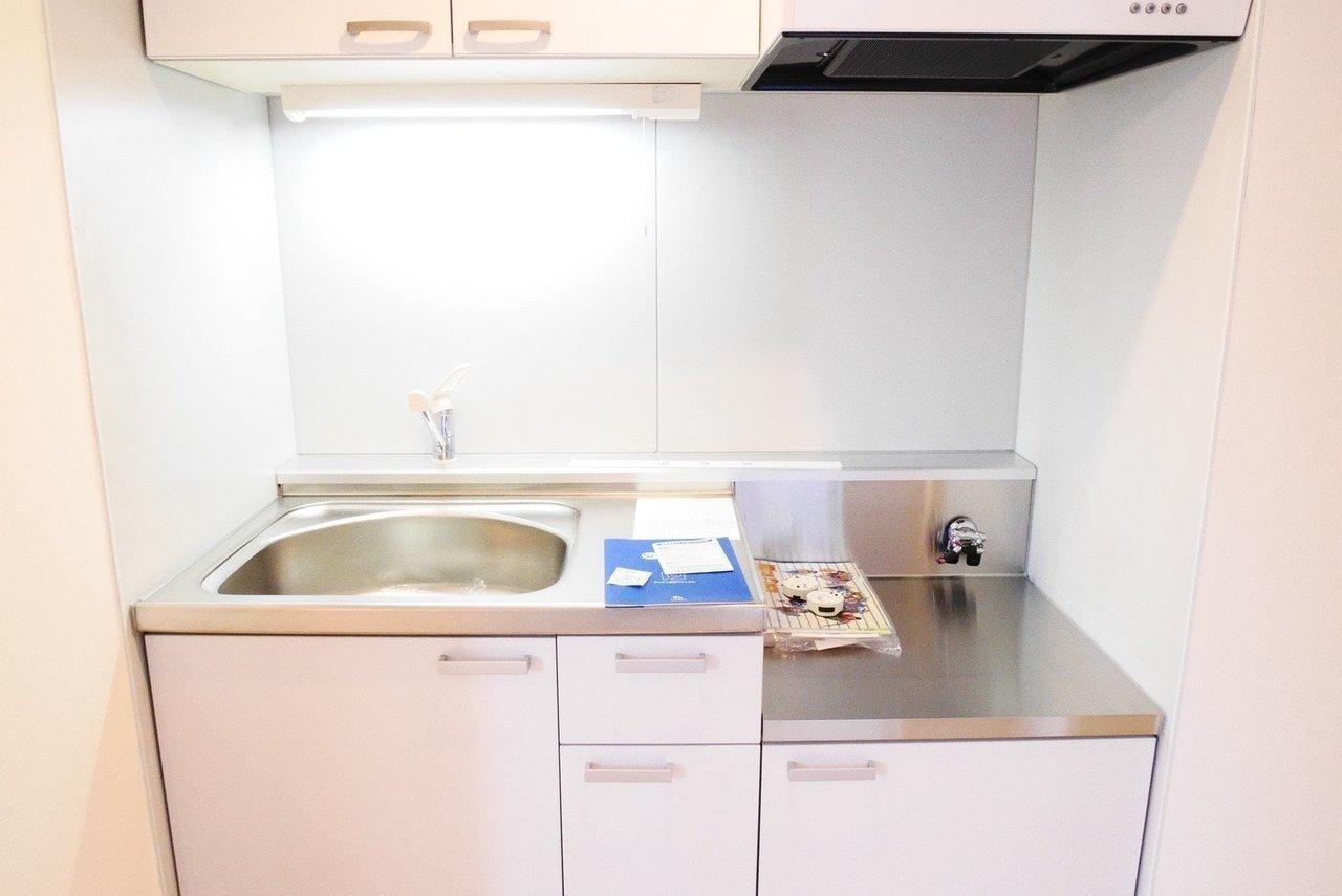 キッチンは一人暮らしには十分。収納スペースも豊富なシステムキッチンです。ガスコンロは持ち込みです。好きなメーカーのものを入れられたらいいですね。