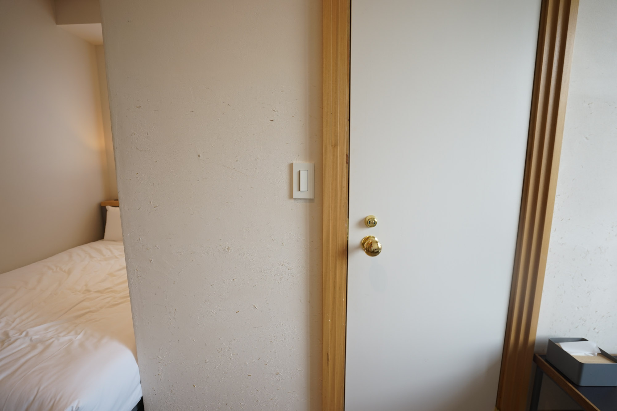 こちら、ゴールドの取っ手がついたドアの向こうが、バスルーム&サニタリースペースです。
