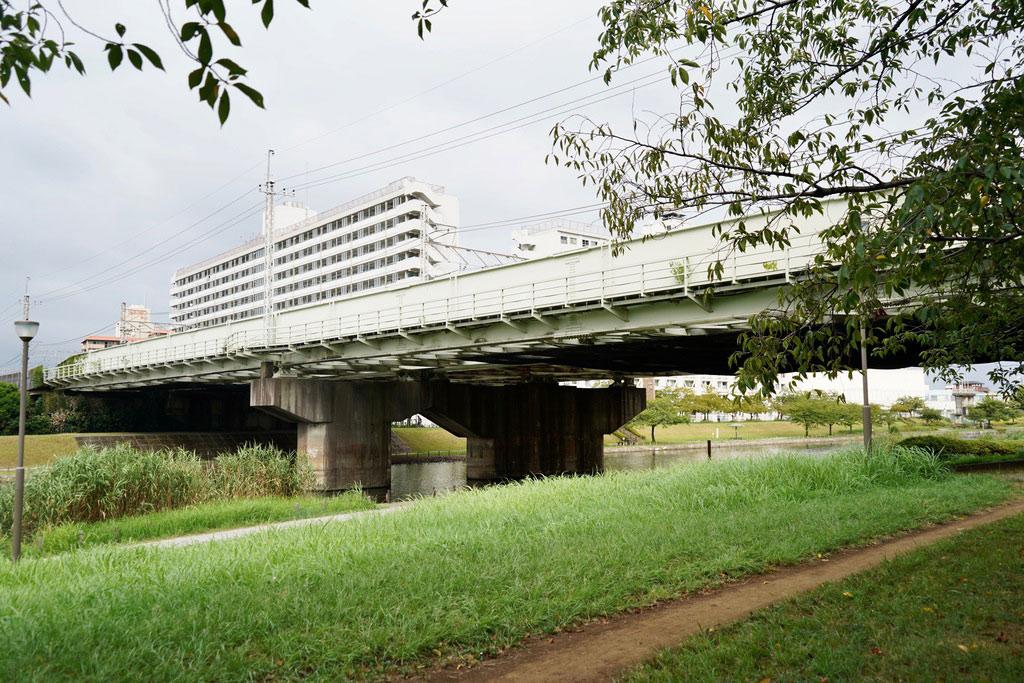 亀戸中央公園(B地区)に来ました。公園の奥に進むと旧中川が見えてきます。正面に架かっている橋は中央・総武線の線路です。