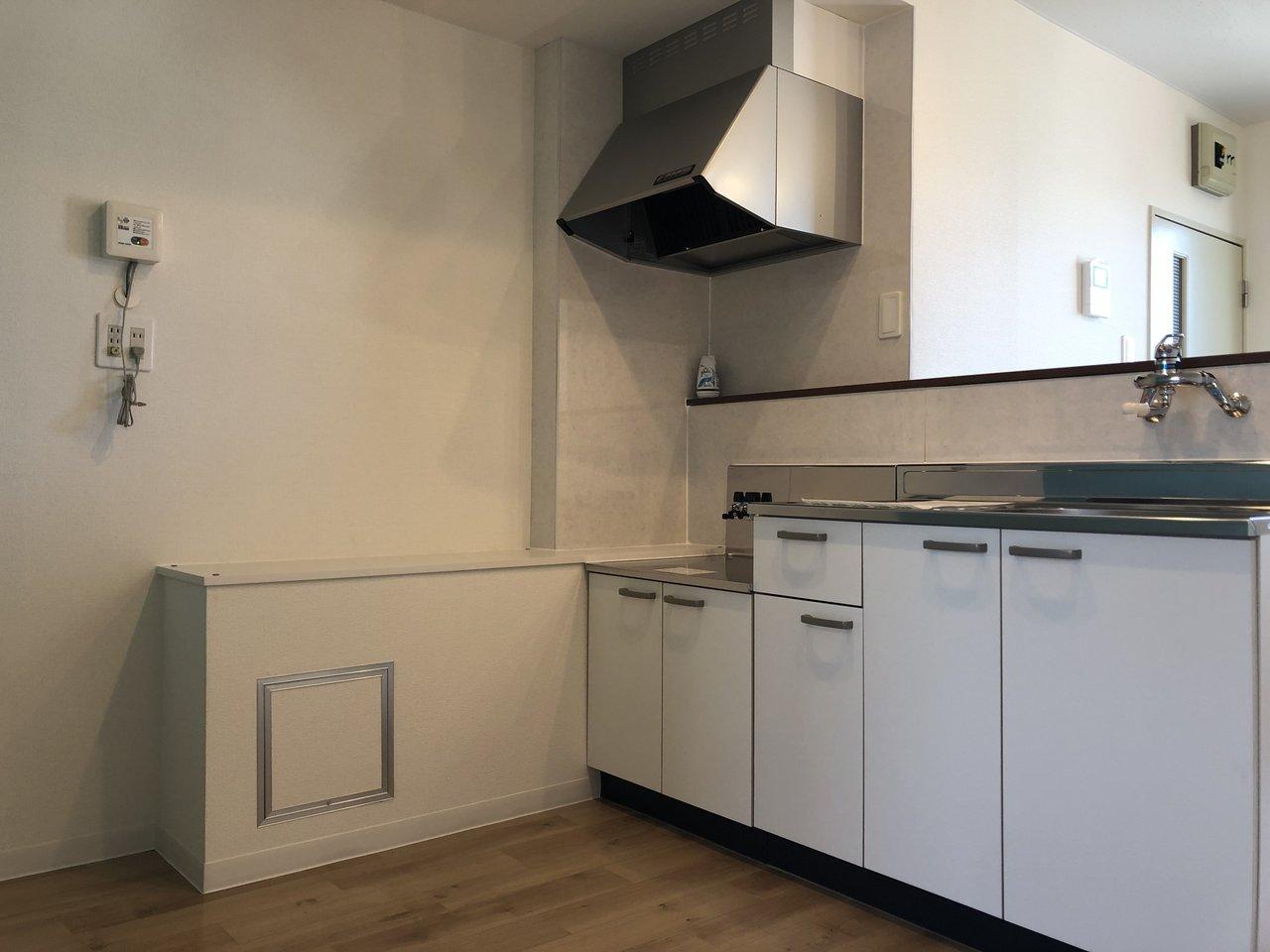 キッチン周りはかなり広々としています。収納棚を置いてもまだ余裕がありそう。