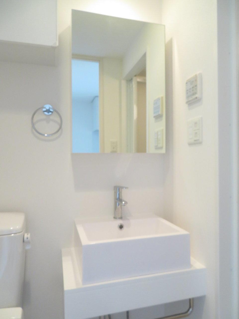 独立洗面台も完備。一人暮らしにこれはうれしい!