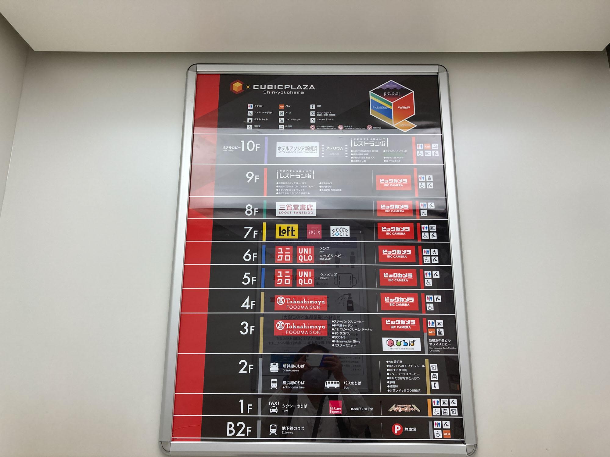こちら駅直結「キュービックプラザ新横浜」のフロアガイドです。ユニクロに、ビックカメラ、ロフトなど、「最寄駅にあったら便利な施設ランキング」で上位に来そうな店舗がずらり勢ぞろいしています。