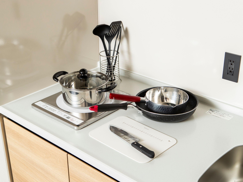 もちろん調理器具や食器も揃っているので、宿泊1日目からスムーズに生活がスタートできますよ。
