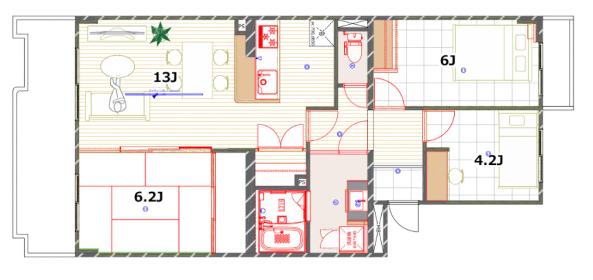 間取りも自分のライフスタイルに合わせてリクエストできるのが今回の「えらべるリノベ」の特徴。こちらのお部屋は、フレキシブルに使える和室を設けています。