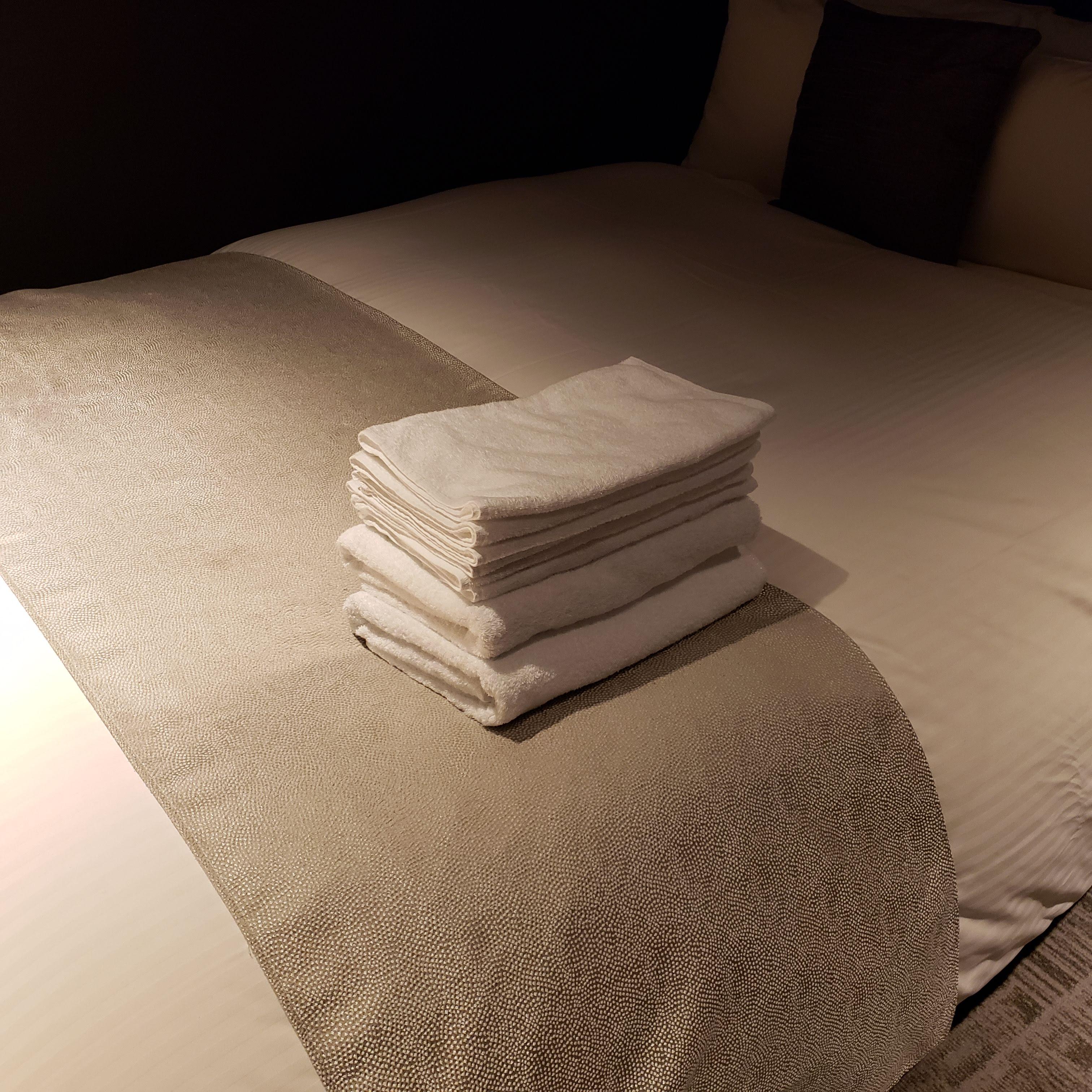 一度清掃に来たタイミングで多めにタオルを準備してくれるホテル側の配慮に、いつも感謝しているそう。