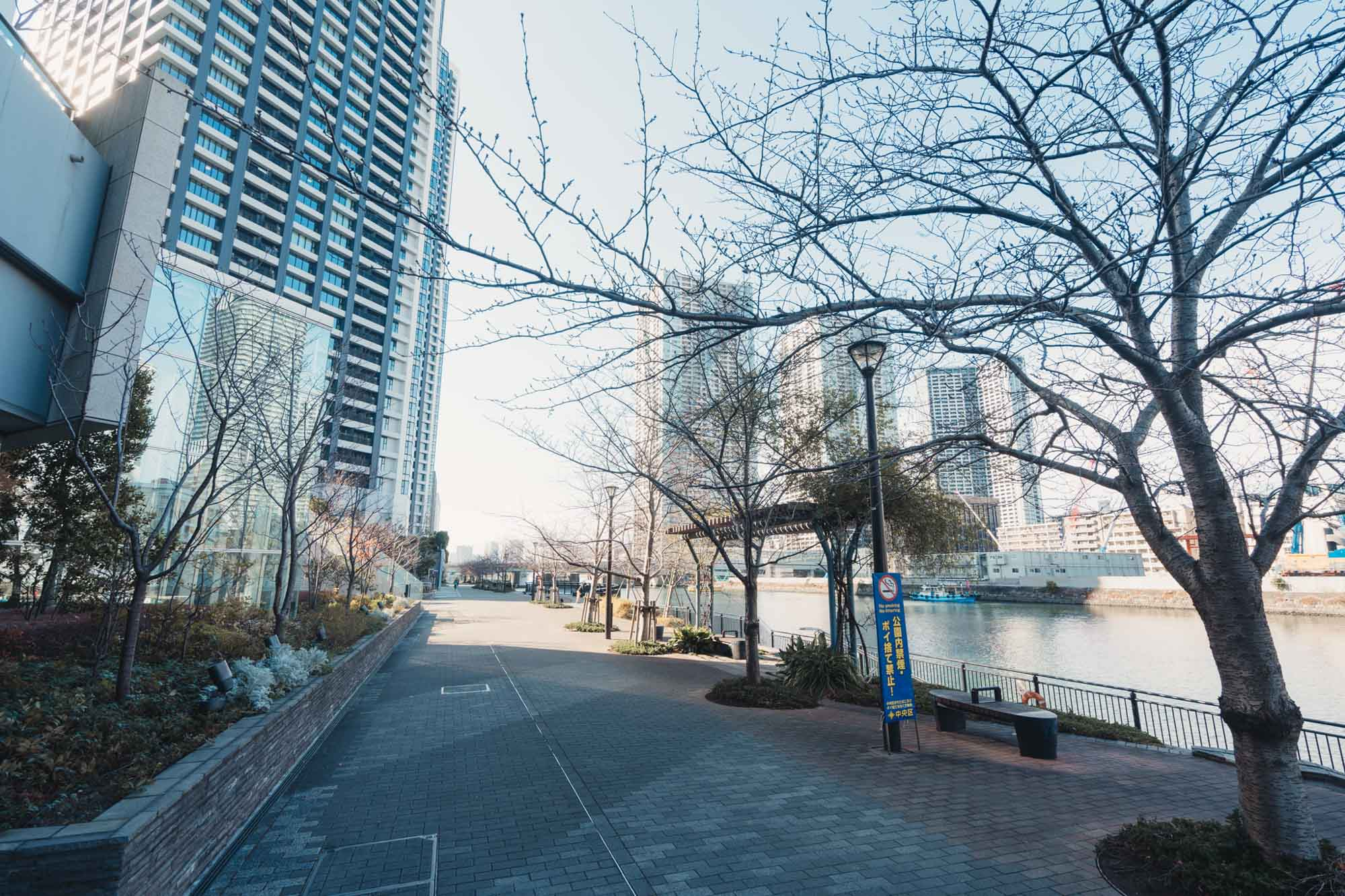 タワーのサブエントランスから、川沿いの遊歩道へと出てみました。散歩やランニングに重宝しそう