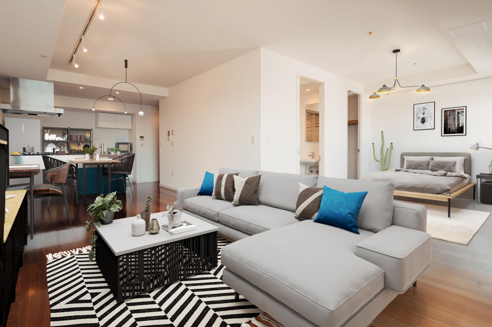 L字型の1K!家具も自由に配置できて、使いやすそうな間取りです。※家具はイメージです。