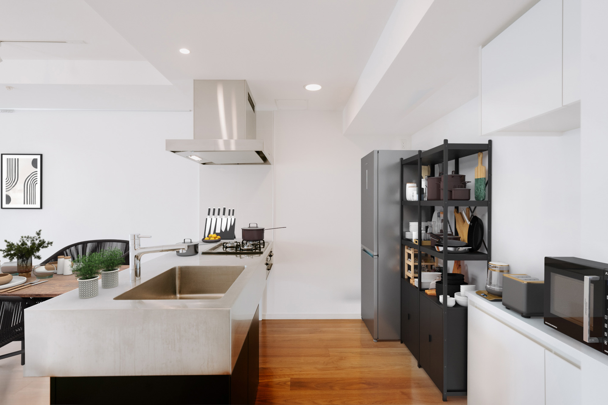 背面にも十分なスペースがあるので、自分の好きな収納や、キッチン家電を置いて使えそうです。