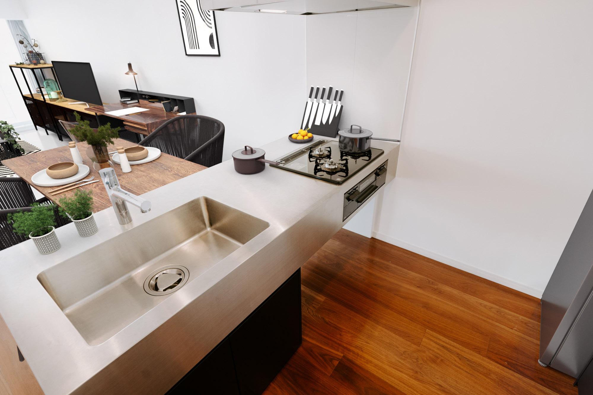 ガス3口にグリルつき、シャワー水栓と、機能面も十分。凝った料理を作りたくなるキッチンですね。