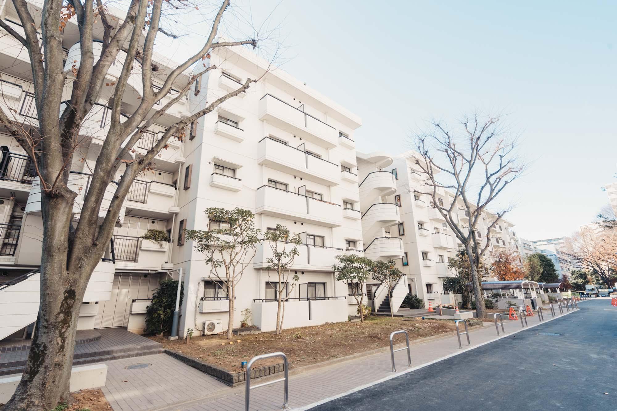 リノベーション住戸があるのは「光が丘パークタウン いちょう通り八番街」。14階建てと5階建ての住棟がゆとりある空間に並び、木々や公園に囲まれた落ち着いたエリアです。