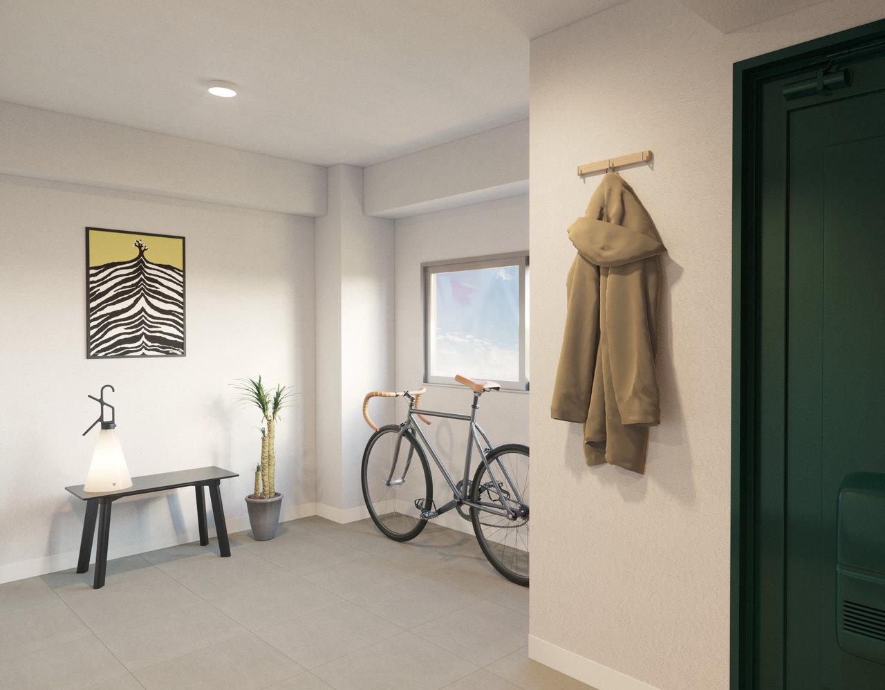 もう一つのポイントは、玄関を開けてすぐの場所にある、広い土間スペース。自転車を置いたり、アウトドア用品を置いたり。どんな使い方にしようか迷っちゃいますね。※画像はイメージです