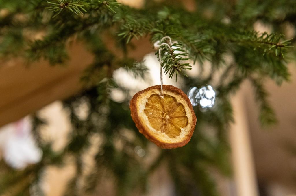 茎の折れてしまったドライフラワーや、フルーツをドライにしたものなどは、ワイヤーや細い紐を通して飾ると素敵です。クリスマスシーズンはモミの木から吊るしたりのもいいですね。それ以外の季節も、玄関ドアに飾るなどするといい感じに。