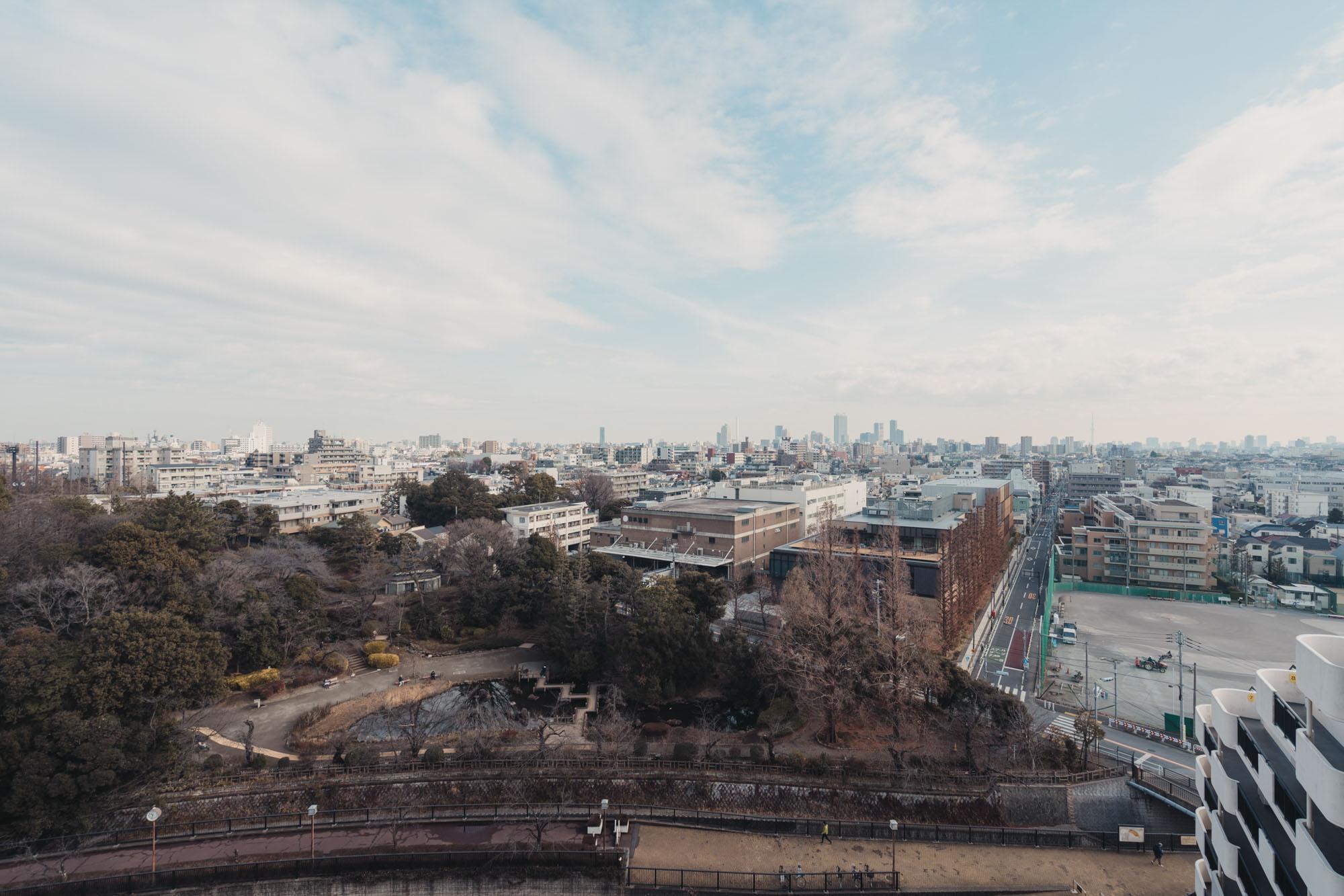 こちら、建物11階北側からの眺め。妙正寺川を挟んですぐ、池があり木々が生い茂っているのが「哲学堂公園」です。
