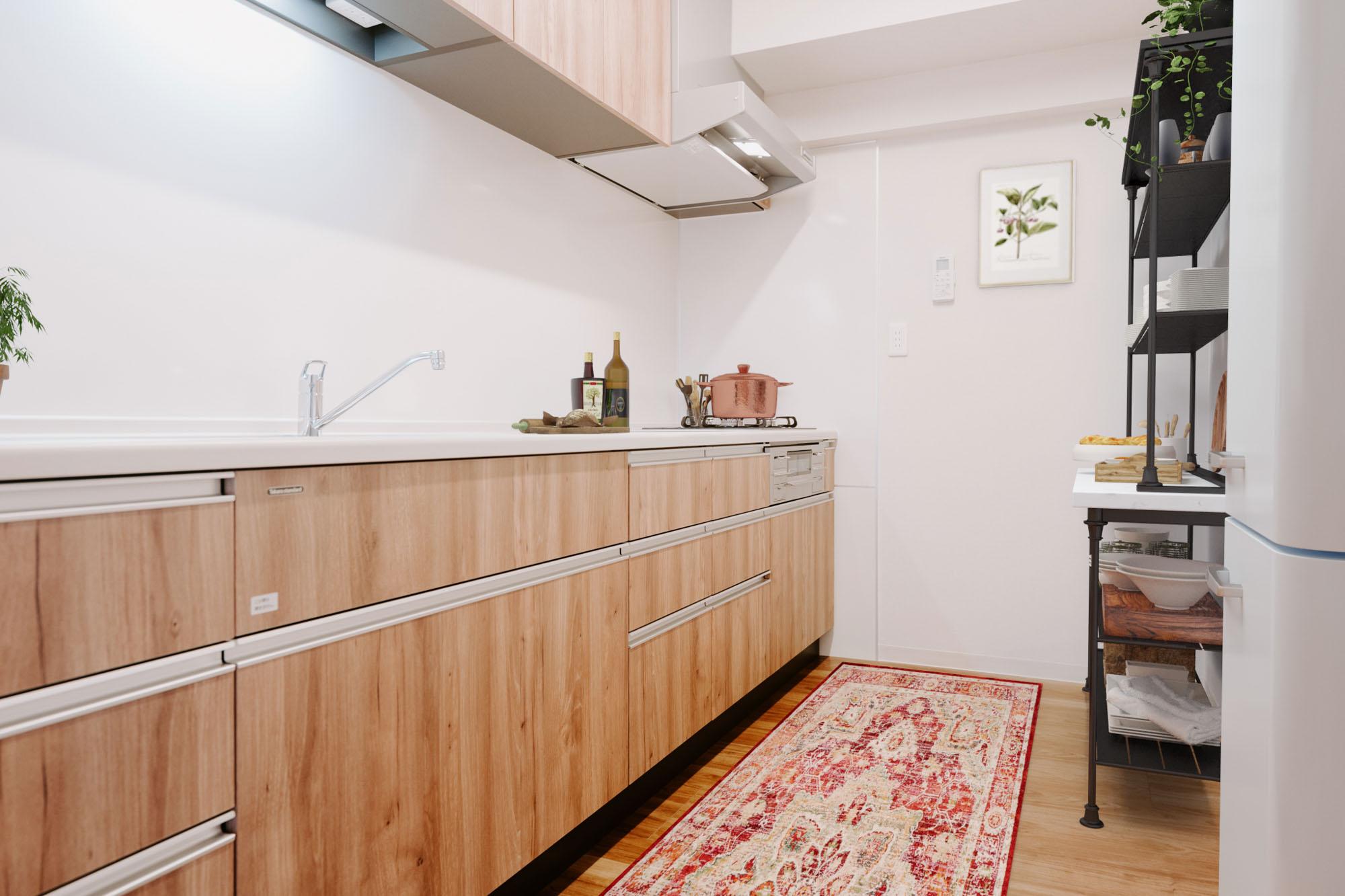 キッチンもグレードアップしたものに交換済み。内装とマッチしたデザインが嬉しいです。