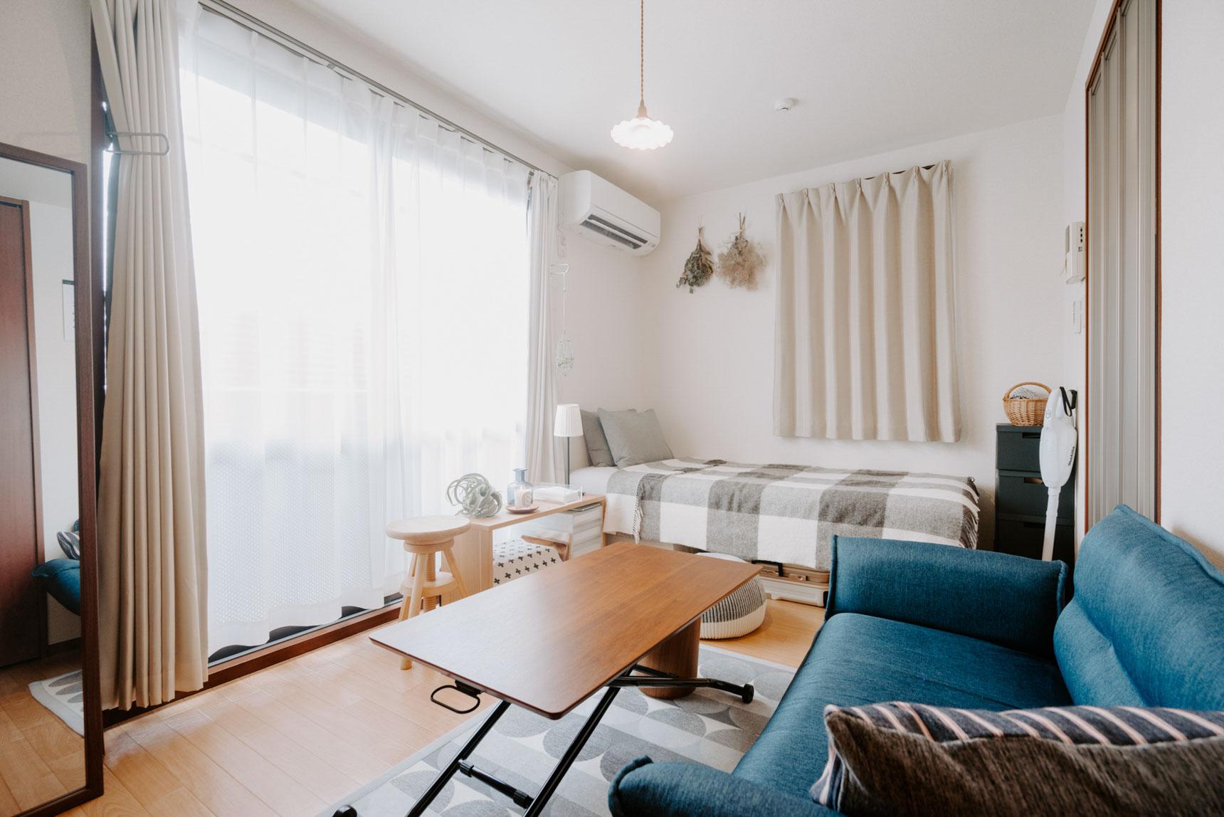 家具配置がしやすい。横長1K・ワンルームのインテリア実例まとめ