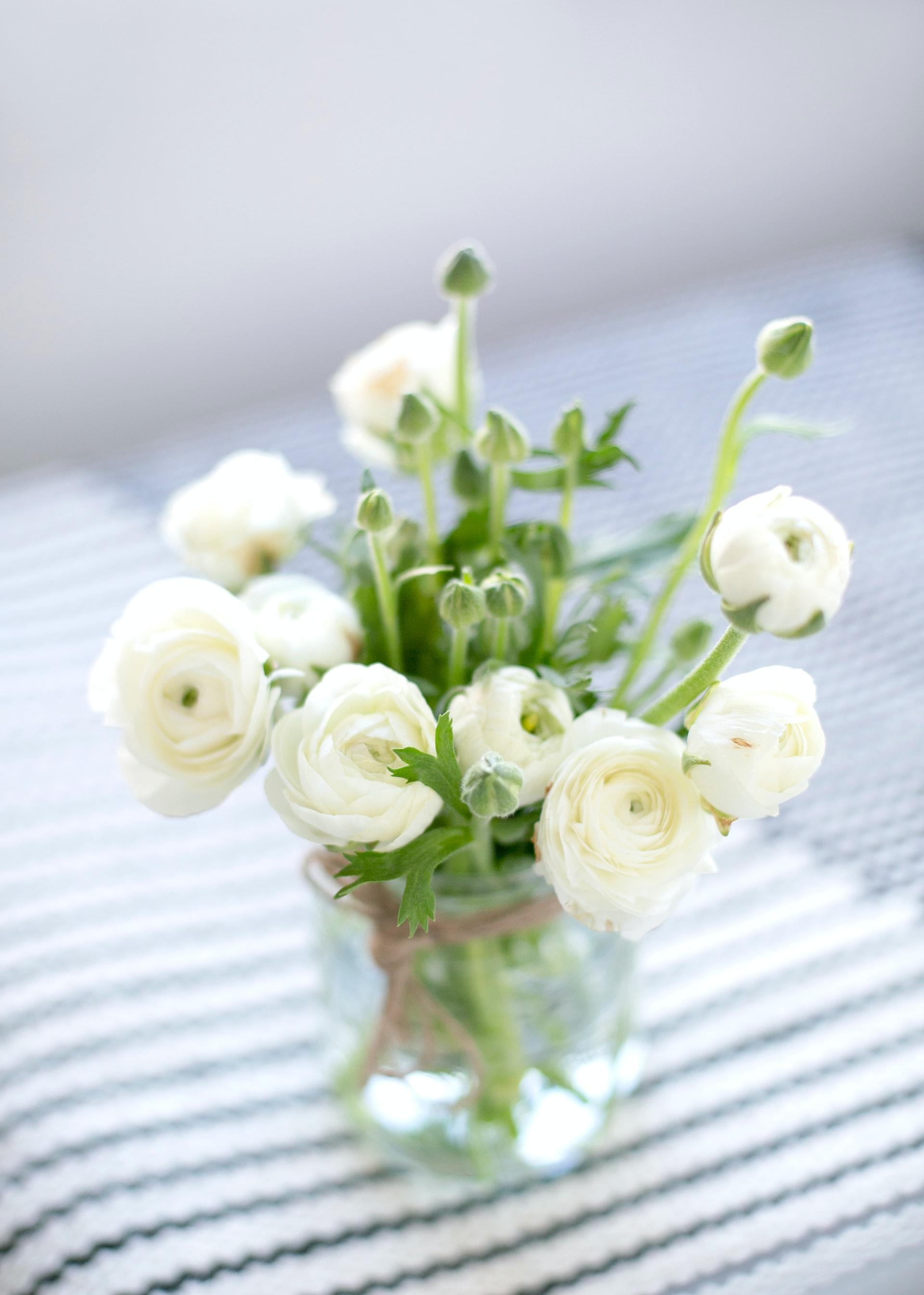 幾重にも重なった、薄紙のような花びらは、軽やかで繊細。さらにふんわりとボリュームも感じられるので、1輪でも十分な美しさがあります。茎自体が水を吸収しやすく、腐りやすいので、花瓶のお水は3cmと少なめにするのが良さそうです。