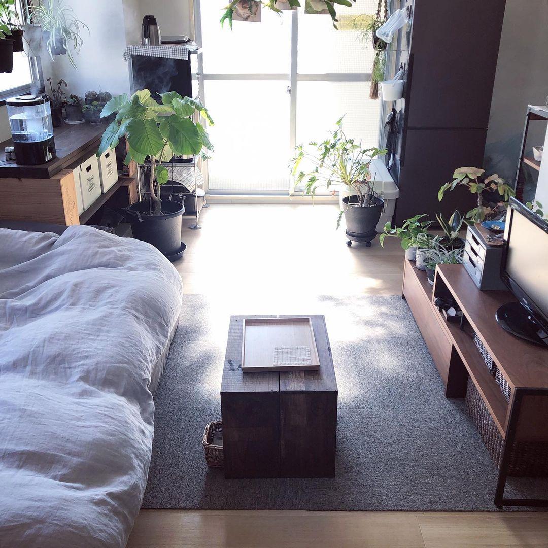 家具はウォールナットとアイアン、テキスタイルはグレー系で揃えられ、落ち着いた雰囲気のお部屋。